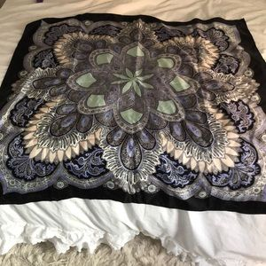 Club Monaco black and blue silk scarf